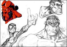 Sketch2: Spidey, Hulk, Hellboy by Red-J