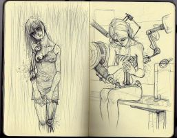 Moleskine sketches:cyborg girl by Francy035b