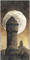 Uthemann - water tower in fullmoon by sanderus
