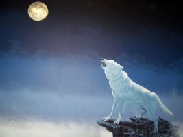 Howl in the Moon lit Mist by Deinia