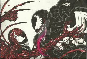 Venom vs. Carnage by Virus-91