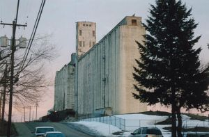 Grain Elevator at Sunrise by mackilvane
