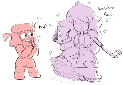 Sapphire Fusion and Ruby (doodle) by AccursedAsche