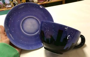 Starry Starry Night Cup and Saucer Set by AliceDreamChaser