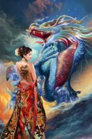 Oriental Beauty and Dragon by a-thammasak