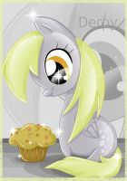 Derpy watching muffin by SugarcubeCake