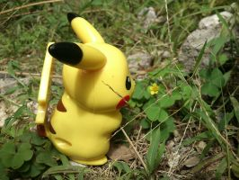 Pikachu with a small yellow flower :3 by oddSpaceball
