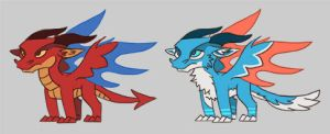 Red and Blue DreamQuest Dragons by Pseudolonewolf