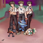 Pokemon Sun and Moon x NGE - Shinji Trio by Yucarikitsune