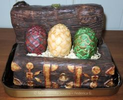 Daenerys dragon eggs chest cake by Diotima96