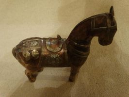 Vintage Hand Carved Wooden with Brass Inlay Horse by sevvysgirl
