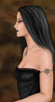 Girl in Profile with Crucifix by DianeVallee