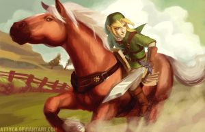 Link and Epona by Attyca