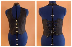 denim lace-up vest. by remy-lenour