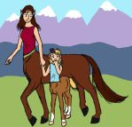 Centaur Mother and Child by gridbugs