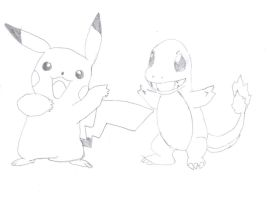 Pikachu and Charmander by IwishIwasAfrog