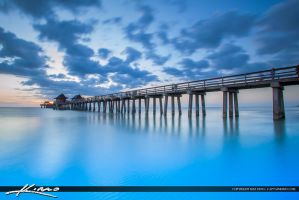 Naples-Florida-Sunset-at-Pier-Smooth-Blue-Ocean by CaptainKimo