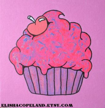 Sparkle Sweet Cupcake Painting by elishacopeland