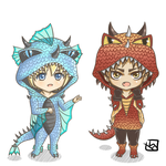 Snk Dragon Chibi - Armin and Eren by mewTalina