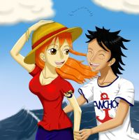 Luffy/Nami by Papayakern