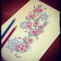 Cherry flowers in the snow Tattoo project by LilithHate