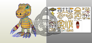 Digimon Agumon (Savers/Data Squad) Papercraft by HellswordPapercraft