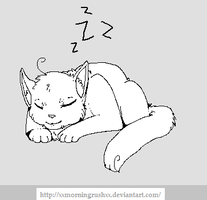 Sleeping cat lineart/Colour in by MorningDesiree