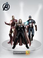 The Avenger : Ironman, Thor, Captain America by WINDEARTFLY