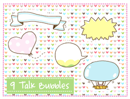 Talk Bubbles Clipart set 1 by SparklingTea