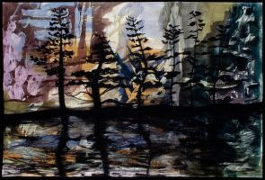 Pines Silhouetted by Hpainter