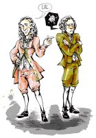 Voltaire and Rousseau by Worgue