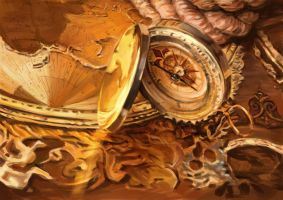 A Golden Compass on Golden Map by thamzmasterpiece