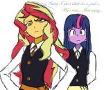 Canterlot Academia - Sunset and Twilight by angeltorchic