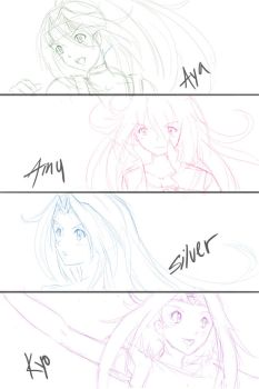 Sketch - Beyblade OC girls by AngelDranger