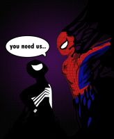 Symbiote vs Spidey by The-Camo-Kid