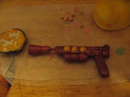 Quisp Potatohead gun and bowl of cereal by Potatoheadmaster