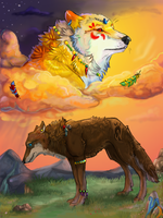 Wolves In Clouds by Akadafeathers