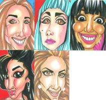 Celebrity Caricatures 072511 by raccoon-eyes