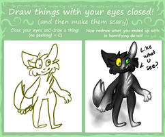 Draw with eyes closed meme by Blink-Thief