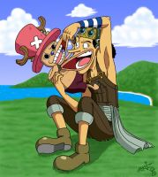 Chopper and Usopp duke it out by Spookaboo