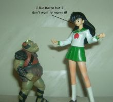 Kagome and the pig by Dragonrider1227