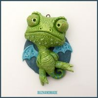 Chameleon Dragon #14 - Polymer Clay Charm by buzhandmade