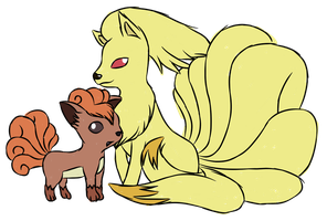 Vulpix and Ninetales by Candy--Fizz