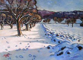 Winterly Meadow with Fruit Trees by Art-deWhill
