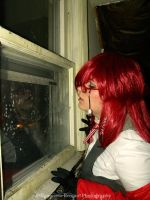 Cosplay - Grell waiting for his Bassy by SammehChu