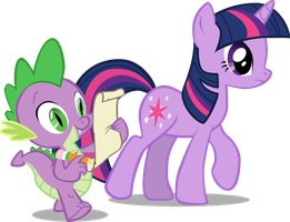 Twilight and Spike Walk Along by bpen42