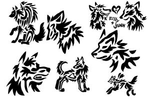 More Wolf Tattoos by SkullCladWolf