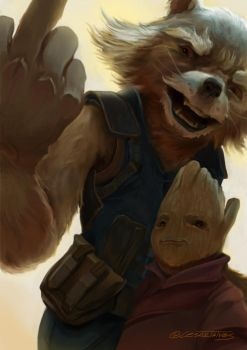 Rocket and baby groot by gordo258