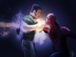 Spiderman vs Sandman by clintrussell