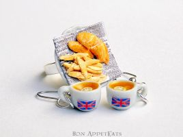 Commission - Fish and Chips Ring plus Tea Earrings by Bon-AppetEats